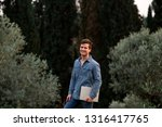 man in jeans suit standing with ...   Shutterstock . vector #1316417765