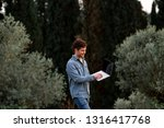 man in jeans suit standing with ...   Shutterstock . vector #1316417768