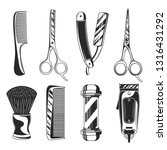 vintage barber shop set items.... | Shutterstock .eps vector #1316431292