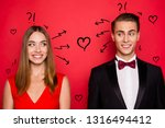 Stock photo closr up portrait of two nice chic lovely attractive imposing cheerful funny flirty people wearing 1316494412