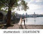 young romantic wedding couple...   Shutterstock . vector #1316510678
