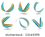 collection of six ribbon design ... | Shutterstock .eps vector #13165390
