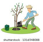 man planting young tree with... | Shutterstock . vector #1316548088