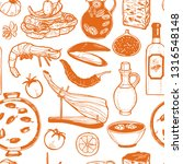 pattern with spanish food.... | Shutterstock .eps vector #1316548148