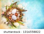 easter composition with easter... | Shutterstock . vector #1316558822
