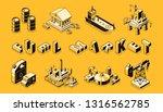 fuel market isometric vector... | Shutterstock .eps vector #1316562785