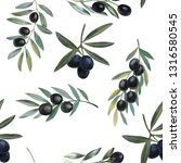 olives branch watercolor hand...   Shutterstock . vector #1316580545