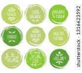 set of vegans slogans. concept... | Shutterstock .eps vector #1316623592