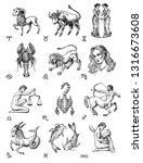 zodiac icons. astrology... | Shutterstock .eps vector #1316673608