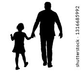 silhouette of happy family on a ... | Shutterstock .eps vector #1316685992