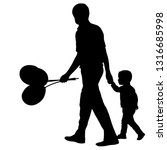 silhouette of happy family with ... | Shutterstock .eps vector #1316685998