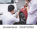 two drivers man arguing after a ... | Shutterstock . vector #1316712962