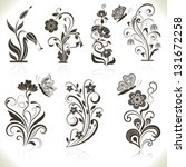 Stock vector floral flower vector design elements isolated on aged color background set 131672258
