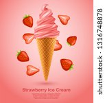 strawberry   flavored soft ice... | Shutterstock .eps vector #1316748878