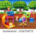 cartoon children having fun in... | Shutterstock .eps vector #1316754275