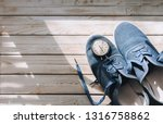 blue sport shoes  moccasin ... | Shutterstock . vector #1316758862