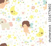 seamless pattern with fairies...   Shutterstock .eps vector #1316776802