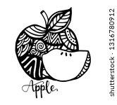 apple fruits  zen art. hand... | Shutterstock .eps vector #1316780912