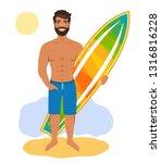 handsome man standing with...   Shutterstock .eps vector #1316816228