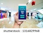 smart phone online shopping in... | Shutterstock . vector #1316829968