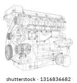 engine sketch. vector rendering ... | Shutterstock .eps vector #1316836682