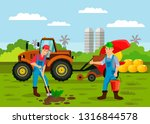 farmers planting sprout seed...   Shutterstock .eps vector #1316844578