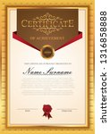certificate template with gold... | Shutterstock .eps vector #1316858888