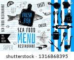seafood menu logo design ... | Shutterstock .eps vector #1316868395