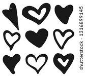 doodle heart shapes set.... | Shutterstock .eps vector #1316899145