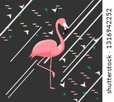 pink flamingo on a black... | Shutterstock .eps vector #1316942252