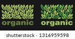 organic. green leaves and logo... | Shutterstock .eps vector #1316959598