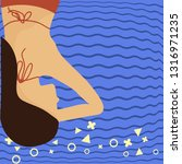 tan skin woman wearing a bikini ... | Shutterstock .eps vector #1316971235