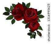 beautiful bouquet with red... | Shutterstock .eps vector #1316995625