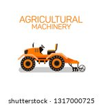 tractor harrow flat vector...   Shutterstock .eps vector #1317000725