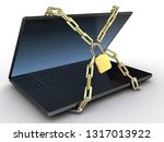 laptop with chains and lock on... | Shutterstock . vector #1317013922