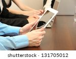male hands with digital tablet... | Shutterstock . vector #131705012