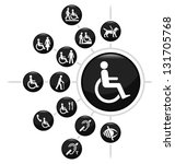 disability related icon set... | Shutterstock .eps vector #131705768