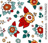 stock  seamless flower  doodle... | Shutterstock . vector #1317064022
