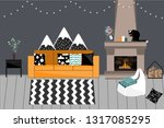 cozy vector interior in... | Shutterstock .eps vector #1317085295
