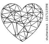 geometric outline heart | Shutterstock .eps vector #1317115598