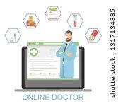 online doctor concept with... | Shutterstock .eps vector #1317134885