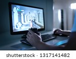 gamer guy playing video game... | Shutterstock . vector #1317141482