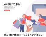 people shopping in supermarket. ... | Shutterstock .eps vector #1317144632