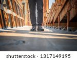 safety shoe of worker walking... | Shutterstock . vector #1317149195