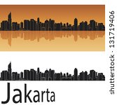 Jakarta skyline in orange background in editable vector file - stock vector