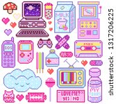 pixel art 8 bit objects. pink...   Shutterstock .eps vector #1317206225