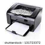 printer printing fake dollar...   Shutterstock . vector #131723372