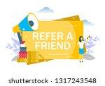refer a friend  woman speaking... | Shutterstock .eps vector #1317243548