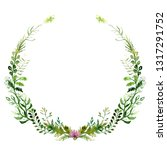 watercolor drawing of a wreath... | Shutterstock . vector #1317291752