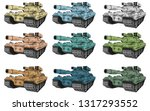 battle tanks set  different... | Shutterstock .eps vector #1317293552